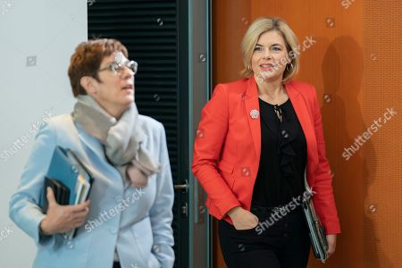 German Minister of Food and Agriculture Julia Kloeckner (R)  arrives behind German Defense Minister Annegret Kramp-Karrenbauer (L) for the beginning of the weekly meeting of the German Federal cabinet at the Chancellery in Berlin, Germany, 13 November 2019.