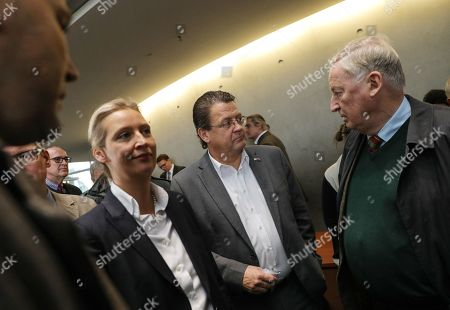 AfD member Stephan Brandner (C), Co-chairman of the German right-wing Alternative for Germany (AfD) party Alexander Gauland (R) and party faction co-chairwoman in the German parliament Bundestag Alice Weidel (L) attend a press conference after a meeting of the Legal Affairs Committee of the Bundestag, in Berlin, Germany, 13 November 2019. The Committee on Legal Affairs of the Bundestag wants to relieve its chairman Stephan Brandner from office. The AfD politician from Thuringia had provoked outrage with his reactions to a recent terrorist attack in Halle. The Bundestag has officially reprimanded Brandner. Most recently, he vilified the awarding of the Federal Cross of Merit to the AfD-critical German rock singer Udo Lindenberg as a 'Judas rewarding'.