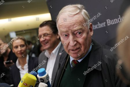 Co-chairman of the German right-wing Alternative for Germany (AfD) party Alexander Gauland (R) and party faction co-chairwoman in the German parliament Bundestag Alice Weidel (L) attend with Stephan Brandner (C) of AfD a press conference after the meeting of the Legal Affairs Committee of the Bundestag, in Berlin, Germany, 13 November 2019. The Committee on Legal Affairs of the Bundestag wants to relieve its chairman Stephan Brandner of the office. The AfD politician from Thuringia had provoked outrage with his reactions to the terrorist attack in Halle. The Bundestag has officially reprimanded Brandner. Most recently, he vilified the awarding of the Federal Cross of Merit to the AfD-critical German rock singer Udo Lindenberg as a 'Judas rewarding'.