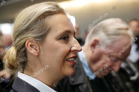 Co-chairman of the German right-wing Alternative for Germany (AfD) party Alexander Gauland (R) and party faction co-chairwoman in the German parliament Bundestag Alice Weidel (L) attend with Stephan Brandner   (unseen) of AfD a press conference after the meeting of the Legal Affairs Committee of the Bundestag, in Berlin, Germany, 13 November 2019. The Committee on Legal Affairs of the Bundestag wants to relieve its chairman Stephan Brandner of the office. The AfD politician from Thuringia had provoked outrage with his reactions to the terrorist attack in Halle. The Bundestag has officially reprimanded Brandner. Most recently, he vilified the awarding of the Federal Cross of Merit to the AfD-critical German rock singer Udo Lindenberg as a 'Judas rewarding'.