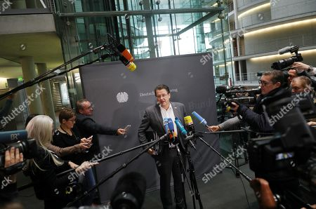Stephan Brandner of Alternative for Germany (AfD) party gives a press conference ahead of the meeting of the Legal Affairs Committee of the Bundestag, in Berlin, Germany, 13 November 2019. The Committee on Legal Affairs of the Bundestag relieved its chairman Stephan Brandner of the office. The AfD politician from Thuringia had provoked outrage with his reactions to the terrorist attack in Halle. The Bundestag has officially reprimanded Brandner. Most recently, he vilified the awarding of the Federal Cross of Merit to the AfD-critical German rock singer Udo Lindenberg as a 'Judas rewarding'.