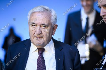 Former French Prime Minister Jean-Pierre Raffarin attends the plenary session of the Paris Peace Forum