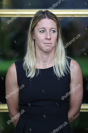 Pauline Parmentier of the French women tennis team attends a reception at the Elysee presidential palace in Paris, France, 12 November 2019 (issued 13 November 2019), two days after they won the Fed Cup competition.