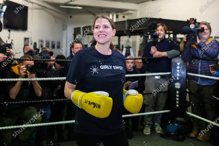 Liberal Democrat Leader Jo Swinson in the boxing ring at Total Boxer in Crouch End, north London.