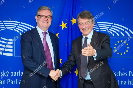 Editorial picture of David Sassoli, EP President meets with Julian King, Commissioner For Migration And Home Affairs, Brussels, Belgium - 13 Nov 2019