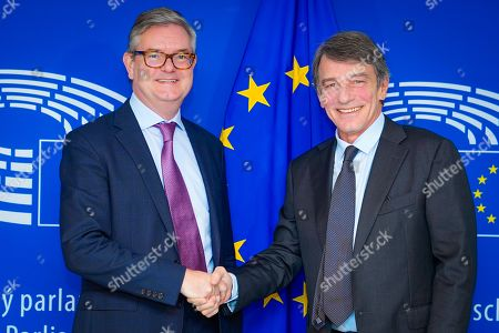 Editorial photo of David Sassoli, EP President meets with Julian King, Commissioner For Migration And Home Affairs, Brussels, Belgium - 13 Nov 2019