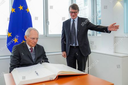 Visit of Wolfgang Schauble, President of the German Bundestag at the EP in Brussels - Meeting with David Sassoli, EP President