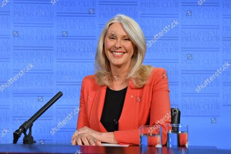 Former Australian journalist Tracey Spicer at the National Press Club (NPC) in Canberra, Australian Capital Territory, Australia, 13 November 2019. Tarana Burke, alongside Tracey Spicer, will be awarded with the 2019 Sydney Peace Prize on 14 November 2019 in the Sydney Town Hall.