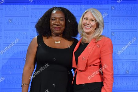 Me Too movement founder Tarana Burke (L) and former Australian journalist Tracey Spicer at the National Press Club (NPC) in Canberra, Australian Capital Territory, Australia, 13 November 2019. Tarana Burke, alongside Tracey Spicer, will be awarded with the 2019 Sydney Peace Prize on 14 November 2019 in the Sydney Town Hall.