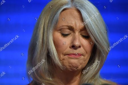 Former Australian journalist Tracey Spicer reacts at the National Press Club (NPC) in Canberra, Australian Capital Territory, Australia, 13 November 2019. Tarana Burke, alongside Tracey Spicer, will be awarded with the 2019 Sydney Peace Prize on 14 November 2019 in the Sydney Town Hall.