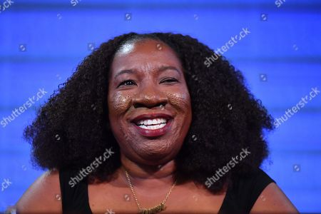 Me Too movement founder Tarana Burke reacts at the National Press Club (NPC) in Canberra, Australian Capital Territory, Australia, 13 November 2019. Tarana Burke, alongside Tracey Spicer, will be awarded with the 2019 Sydney Peace Prize on 14 November 2019 in the Sydney Town Hall.