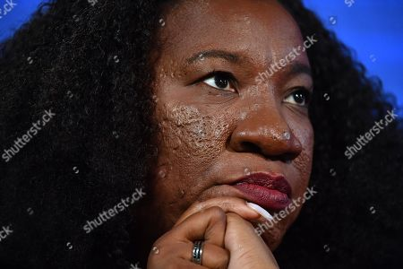 Me Too movement founder Tarana Burke looks on at the National Press Club (NPC) in Canberra, Australian Capital Territory, Australia, 13 November 2019. Tarana Burke, alongside Tracey Spicer, will be awarded with the 2019 Sydney Peace Prize on 14 November 2019 in the Sydney Town Hall.