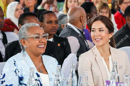 First Lady of Kenya Margaret Kenyatta (L), and Danish Crown Princess Mary (R) during a panel discussion 'Women Leaders High Level Dialogue', on the sidelines of the Nairobi Summit on International Conference on Population and Development (ICPD25), in Nairobi, ?Kenya, 13 November 2019. The summit takes place from 12 to 14 November.