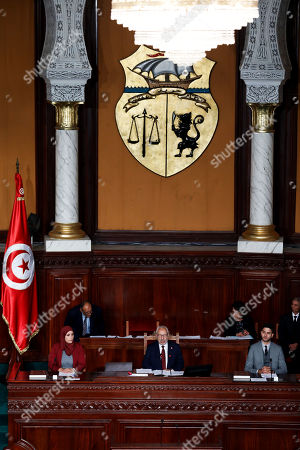 Co-founder of the Ennahdha Party and Member of the Parliament Rached Ghannouchi (C) chairs the first session of the parliament as the oldest member in Tunis, Tunisia, 13 November 2019. New members of the Parliament elected in the 06 October polls convened for the oath-taking ceremony and electing a new speaker and two vice-speakers.