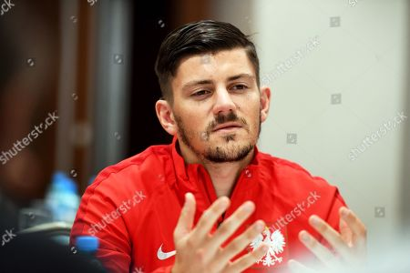 Polish national soccer team player Dawid Kownacki speaks during a press conference in Warsaw, Poland, 13 November 2019. Poland will face Israel on 16 November and Slovenia on 19 November 2019 in their UEFA EURO 2020 qualifying soccer matches.