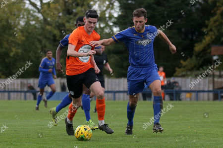 Ben Turner of Romford and Tom Newman of Soham during Romford vs Soham Town Rangers, BetVictor League North Division Football at the Brentwood Centre on 2nd November 2019