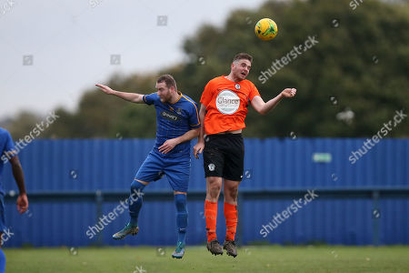Jimmy Cox of Romford and Cameron Watson of Soham during Romford vs Soham Town Rangers, BetVictor League North Division Football at the Brentwood Centre on 2nd November 2019
