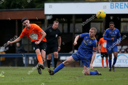 Tom Newman of Soham goes close during Romford vs Soham Town Rangers, BetVictor League North Division Football at the Brentwood Centre on 2nd November 2019