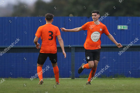 Tom Newman of Soham scores the first goal for his team and celebrates during Romford vs Soham Town Rangers, BetVictor League North Division Football at the Brentwood Centre on 2nd November 2019