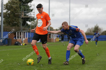 Tom Newman of Soham and Danny Cossington of Romford during Romford vs Soham Town Rangers, BetVictor League North Division Football at the Brentwood Centre on 2nd November 2019
