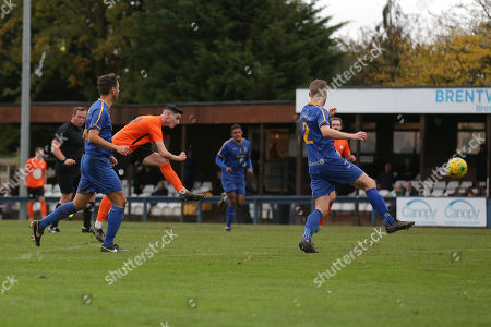 Tom Newman of Soham with a shot during Romford vs Soham Town Rangers, BetVictor League North Division Football at the Brentwood Centre on 2nd November 2019