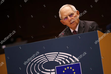 German Bundestag President Wolfgang Schauble addresses European Parliament members during a ceremony to mark the 30th anniversary of the fall of the Berlin Wall, at the European Parliament in Brussels