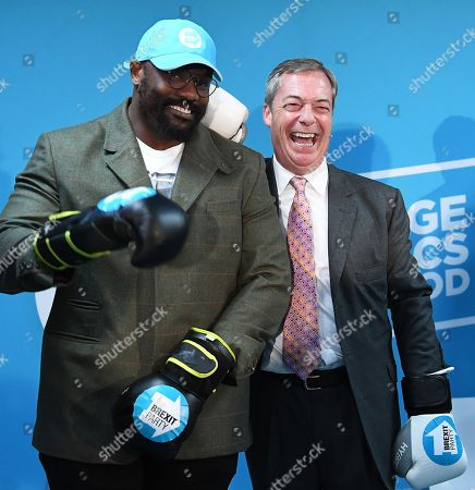 Stock Photo of Brexit Party leader Nigel Farage (R) campaigns at boxing gym with British Boxer Dereck Chisora (L) in Essex, east London, Britain, 13 November 2019. Britons go the polls 12 December in a general election.