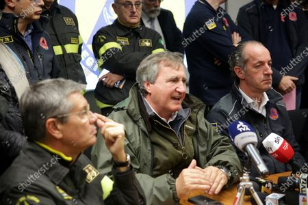 Luigi Brugnaro, Mayor of Venice, Luca Zaia Veneto Region president, Fabio Dattilo Head of the National Fire Brigade during a press conference for the extreme floodwaters