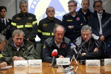 Luigi Brugnaro, Mayor of Venice, Luca Zaia Veneto Region president, Patriarch Francesco Moraglia during a press conference for the extreme floodwaters