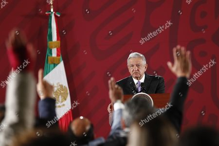 President of Mexico, Andres Manuel Lopez Obrador, in a press conference at the National Palace in Mexico City, Mexico, 13 November 2019. Lopez Obrador speaks about establishing contact with Evo Morales,  if necessary. The former president of Bolivia arrived to Mexico as an asylum seeker on 12 November 2019, after his resignation due to mounting anti goverment protests.