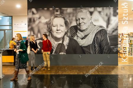 Visitors look at artworks by Peter Greenaway and his wife Saskia Boddeke during the World of Saskia Boddeke & Peter Greenaway exhibition at the at the Centre Of Contemporary Art in Torun, Poland, 13 November 2019. The Exhibition will run until 01 March 2020.