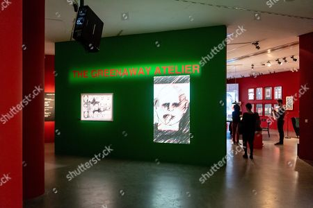 Stock Image of Visitors look at artworks by Peter Greenaway and his wife Saskia Boddeke during the World of Saskia Boddeke & Peter Greenaway exhibition at the at the Centre Of Contemporary Art in Torun, Poland, 13 November 2019. The Exhibition will run until 01 March 2020.