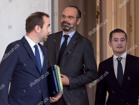 French deputy minister, Sebastien Lecornu, French Prime Minister Edouard Philippe and French Public Accounts Minister Gerald Darmanin