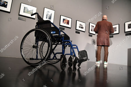 """Stock Photo of Preview of the photographic exhibition """"Alfred Hitchcock in the Universal Pictures films"""" at Palazzo Ducale in Genoa, Italy, 13 November 2019. Photos and videos, for the great director of the suspense, which took its first scene of a film in Genoa."""