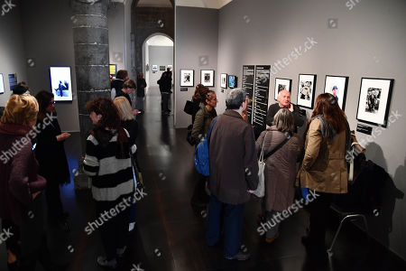 """Preview of the photographic exhibition """"Alfred Hitchcock in the Universal Pictures films"""" at Palazzo Ducale in Genoa, Italy, 13 November 2019. Photos and videos, for the great director of the suspense, which took its first scene of a film in Genoa."""