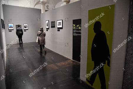 """Stock Image of Preview of the photographic exhibition """"Alfred Hitchcock in the Universal Pictures films"""" at Palazzo Ducale in Genoa, Italy, 13 November 2019. Photos and videos, for the great director of the suspense, which took its first scene of a film in Genoa."""