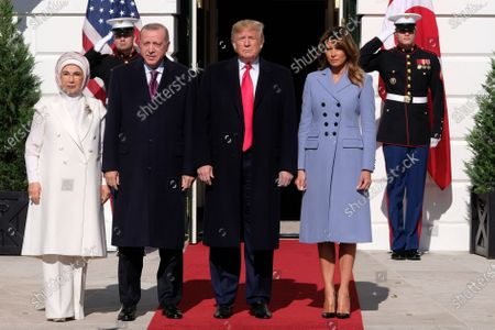 Turkish first lady Emine Gulbaran, President Recep Tayyip Erdogan of Turkey, United States President Donald Trump and first lady Melania Trump
