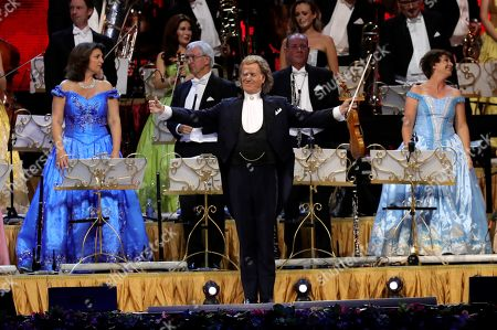 Stock Picture of Dutch violinist Andre Rieu (C) performs with Johann Strauss Orchestra during a concert held at WiZink Center in Madrid, Spain, 13 November 2019.