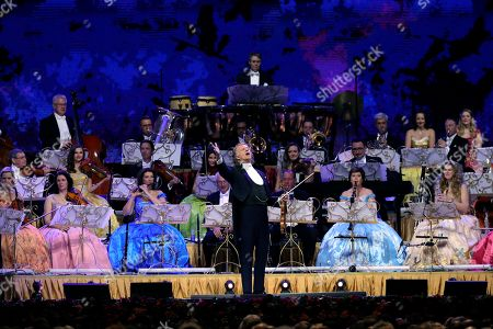 Dutch violinist Andre Rieu (C) performs with Johann Strauss Orchestra during a concert held at WiZink Center in Madrid, Spain, 13 November 2019.