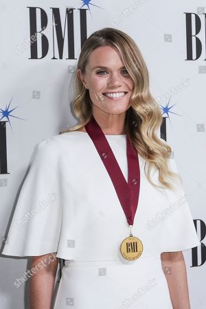 Nicolle Galyon arrives at 67th Annual BMI Country Awards ceremony at BMI Music Row offices, in Nashville, Tenn