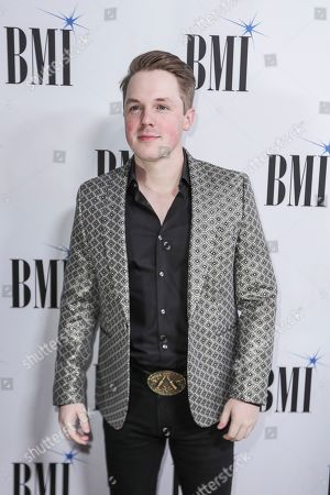 Travis Denning arrives at 67th Annual BMI Country Awards ceremony at BMI Music Row offices, in Nashville, Tenn