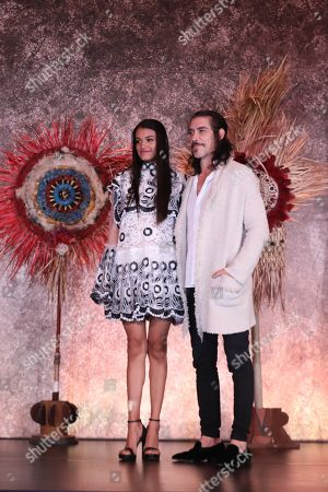 Actors Isabel Bautista and Oscar Jaenada pose for a photograph during the presentation of the series 'Hernan', which will broadcasted on November 24 by Mexican channel Azteca 7, and which shows conqueror Hernan Cortes upon his arrival and at the beginning of the conquest of Mexico on 14 March 1519.