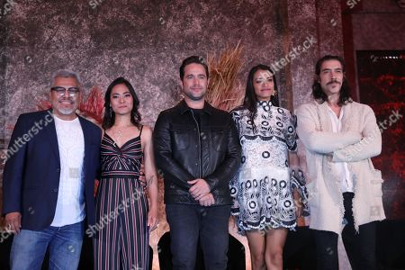 Actors Dagoberto Gama (L), Mabel Cadena (2L), Michel Brown (C), Ishbel Bautista (2R), Oscar Jaenada (R), for a photograph during the presentation of the series 'Hernan', which will broadcasted on November 24 by Mexican channel Azteca 7, and which shows conqueror Hernan Cortes upon his arrival and at the beginning of the conquest of Mexico on 14 March 1519.