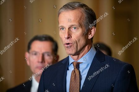 Stock Photo of Senate Majority Whip John Thune (R-SD) makes a statement after the Republican Party luncheon on Capitol Hill in Washington, DC, USA, 13 November 2019. Republicans ridiculed House Majority Leader Nancy Pelosi and other Democrats in the House of Representatives for their pursuit of the impeachment proceedings of Republican President Donald Trump.