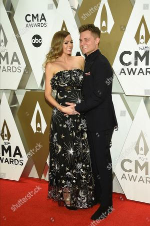 Stock Image of Christina Murphy, Frankie Ballard. Christina Murphy, left, and Frankie Ballard arrive at the 53rd annual CMA Awards at Bridgestone Arena, in Nashville, Tenn