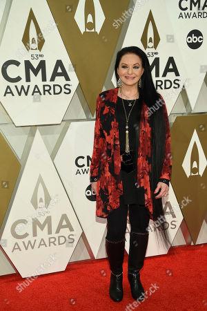 Crystal Gayle arrives at the 53rd annual CMA Awards at Bridgestone Arena, in Nashville, Tenn