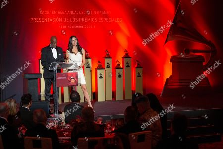 Stock Image of Johnny Ventura & Paola Rojas host the the Latin Grammy special merit awards at the Waldorf Astoria Hotel, in Las Vegas