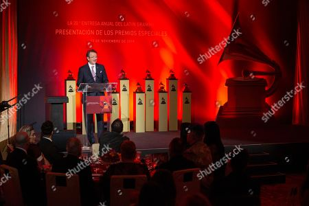 Latin Recording Academy President & CEO Gabriel Abaroa speaks during the Latin Grammy special merit awards at the Waldorf Astoria Hotel, in Las Vegas
