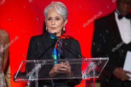 Joan Baez receives the Lifetime Achievement award during the Latin Grammy special merit awards at the Waldorf Astoria Hotel, in Las Vegas