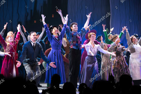 Adelaide Barham (Jane Banks), Joseph Millson (George Banks), Zizi Vaigncourt-Strallen (Mary Poppins), Charlie Stemp (Bert), Amy Griffiths (Winifred Banks), Gabriel Payne (Michael Banks) and Petula Clark (Bird Woman) during the curtain call